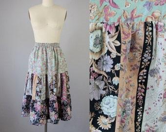 1970s Vintage Cotton Garden Patchwork Midi Skirt (S, M, L)