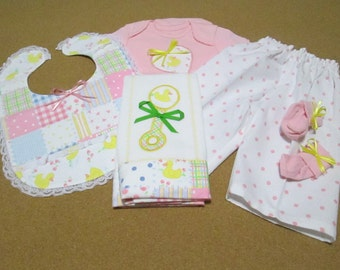 """5pc. """"Rubber Ducky"""" Infant Gift Set (Onsie, Pajama Pants, Bib, Burp Cloth, and Socks) / Size: 3-6 mos."""