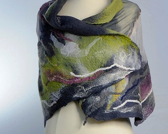 Hand felted shawl