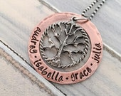 Mother's Day Jewelry-- Personalized Necklace --  Family Tree Necklace -- Hand Stamped Grandmothers Jewelry