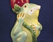 Frog Figurine, Statue, Decorative, Colorful, Candlestick, Majolica Style, Décor, Pottery, Ceramic, Animated, Figural