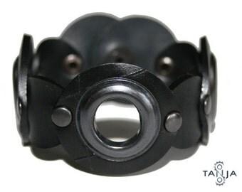 Black Copper Ring Rubber Bracelet