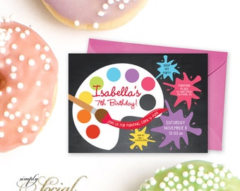 Painting Birthday Party Invitation - Art Party with Paint Chalkboard Brush PRINTABLE