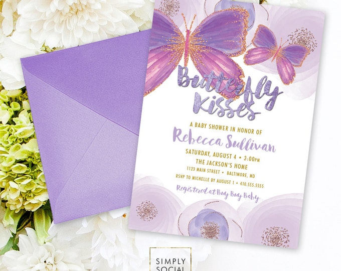 Butterfly Baby Shower Invitation - Floral Peony Purple Faux Gold Glitter Boho Flowers Butterfly Kisses It's a Girl Printable Party Invite