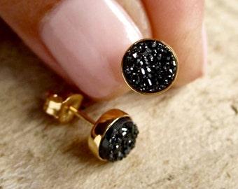 Tiny Black Druzy Earrings Drusy Quartz Studs Gold Vermeil Bezel Set