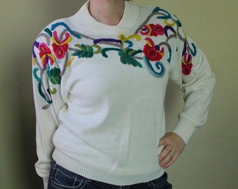 Vintage 80's White Sweater with Bright Flowers - Embroidered Flowers - Needlework Detail - Mexican - Shoulder Pads