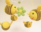 Bee Baby Shower Gift Baby Mobile, Crib Baby Mobile, Nursery Decor, Bumble Bee Nursery Mobile