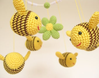 Bee Baby Shower Gift Baby Mobile, Crib Baby Mobile, Nursery Decor, Bumble Bee Nursery Mobile