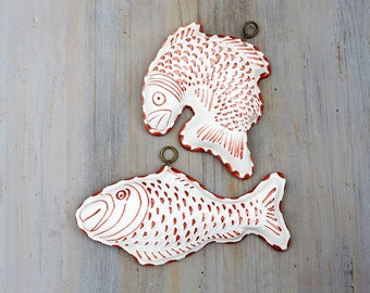 Pair of Ceramic Fish, Ceramiche ABC Bassano Italy, Coastal Wall Decor