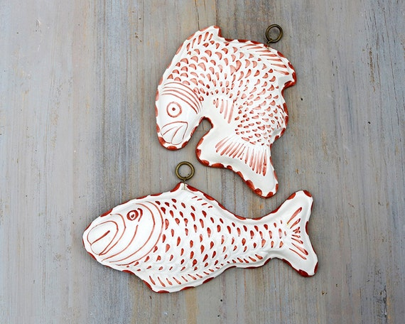 Pair of Ceramic Fish by Ceramiche ABC Bassano Italy, Wall Decor