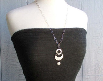 Phases of the Moon Pendant Necklace Long Sterling Silver Chain Necklace Handmade Wiccan Jewelry Crescent Moon Goddess Modern Abstract Art