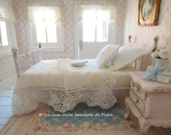 Pure white enameled iron bed with bedding - 1:12 dolls house dollhouse miniature