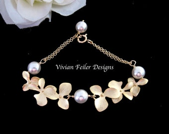 Bridal Pearl Bracelet Gold Orchid Wedding Jewelry Flower Bridesmaid Gift Orchid Bracelet