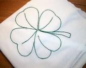 Dish (Tea) Towel with Irish Design Hand Embroidery Flour Sack Dish Towel 4 Leaf Clover Dish Towel