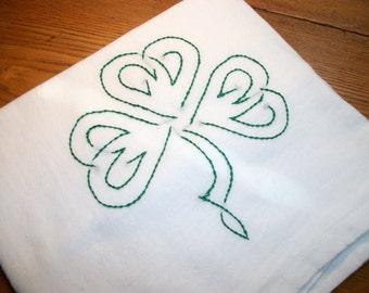 Dish (Tea) Towel with Irish Design Hand Embroidery Flour Sack Dish Towel Shamrock Dish Towel