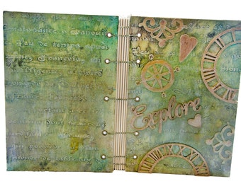 OOAK Mixed Media Journal - Travel Journal - Coptic Stitch - Handmade Journal - One of A Kind - Explore -
