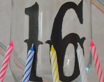 Big Birthday Candle, hand poured with custom scent, 12 ounce soy candle