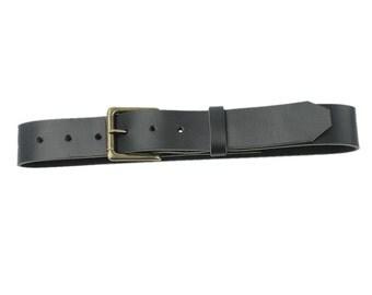 Leather Belt - Roller Buckle - Black - Made in the U.S.A. - BL-BLT-RLAT