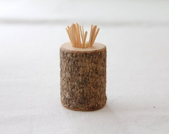rustic branch toothpick holder