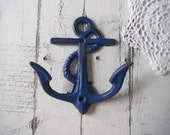 navy bathroom hook clothing hook anchor wall hook navy nautical hook decor shabby cottage rustic decor nautical distressed hook beach house