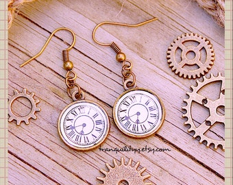 Steampunk Earrings, Vintage Style Clock Earrings , By: Tranquilityy