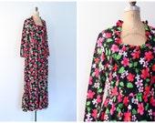 vintage 1970s neon maxi dress - 70s floral print hippie dress / neon pink psychedelic floral dress / flower child maxi dress - festival