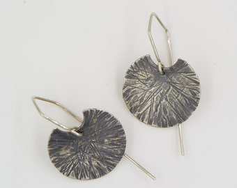 Hammered Sunburst Sterling Silver Large Disk Earrings