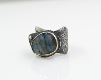 Faceted Labradorite Hammered Wide Band Ring