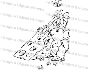 Mouse Eating Cheese Digital Stamp Image