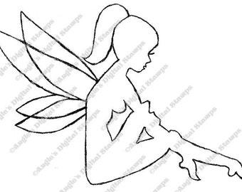 Fairy Sitting Digital Stamp Image