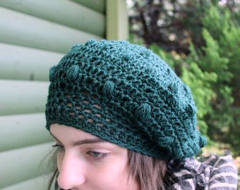 Dark green beret for woman, wool beret, soft wool beret, crocheted beret, elegant beret