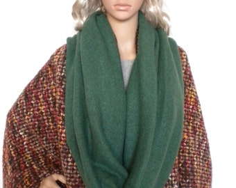 infinity circle scarf green mohair eternity scarf, tube scarf, loop scarf,  cowl hooded scarf