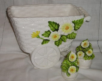 Lefton China Flower Cart and Salt and Pepper Shakers