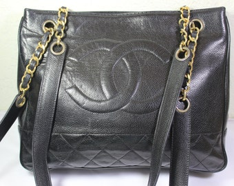 Vintage CC Black Genuine Caviar Leather Tote Shoulder Bag