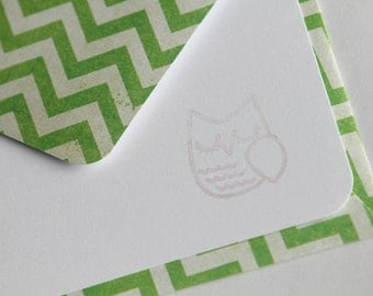 NEW Set of 3 Stationery - Grass Green with Chevron Stripes Design - Bright and Colorful - Sweet Owl