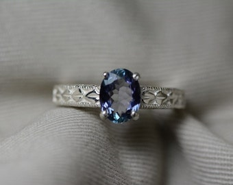 Tanzanite Ring, Fabulous 1.31 Carat Genuine Tanzanite Ring Appraised At 400.00 Oval Cut,  Sterling Silver, Size 7