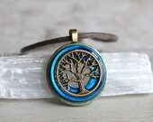 sky blue tree of life necklace, mens jewelry, celtic jewelry, mens necklace, unique gift, nature necklace, wiccan necklace, mens gift