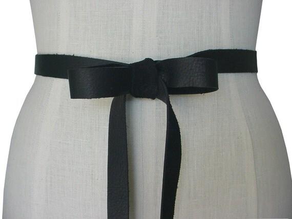 Black leather bow leather ribbon belt wedding dress by for Leather wedding dresses black