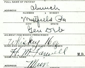 5/21 1932 Parsons Whiskey Prohibition Prescription Medicine Westfield PA Pharmacy Bar Doctor Farwell Liquor Stub Vintage Alcohol Speakeasy