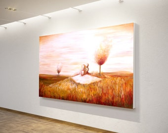 Big acrylic painting contemporary art - Couple in ocher fields with white dress. Original by Dina Argov
