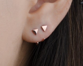 Tiny Triangle Hug Hoop Earrings, Sterling Silver, Gold Plated, Cute Hugging Earrings, Small  Edgy Hoops,  Lunaijewelry, Gift, EAR043