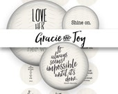 Inspirational,Quotes, Pinterest inspired,Digital Download,Bottle cap images, 1 inch, cabochon,pattern,handwriting, gracie and joy