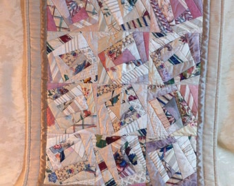 Handmade and Quilted Crazy Quilt Wall Hanging or Lap Quilt