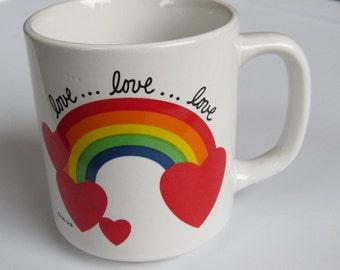 1981 Vintage Rainbow Love Mug