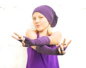 Fingerless Gloves - Extra Long - Arm Warmers - Purple - Eco Friendly Jersey - Organic Clothing