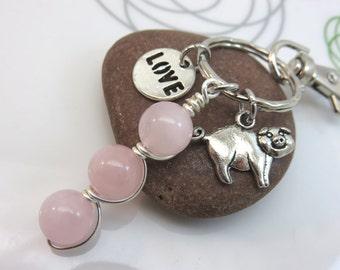 Rose quartz keychain - silver pig keychain - rose quartz bag charm - silver keychain - farm barnyard - animal lover gift - animal keychain