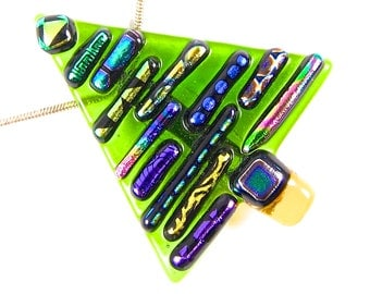 Dichroic Glass Christmas Tree - Green Blue Pink Yellow Patterned Rainbow Recycled Dicro Stripes on Clear Green Stained Glass, Fused Glass
