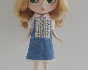 Denim skirt  for Blythe, Licca, 1/6 22cm doll