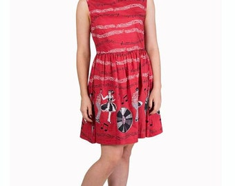 Brand New Kitsch Vintage Style 1950s Red Jive Record Print Dress Rockabilly Pin Up