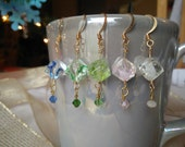 Faceted Glass Cube Pendant Earrings with Crystal Accents